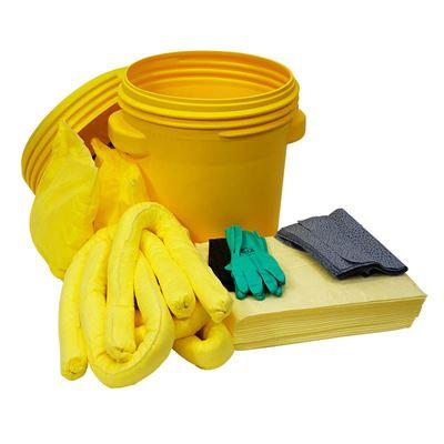 Vuodontorjuntapaketti turvatynnyrissä, 75 litraa, kemikaalit, keltainen, hinta ostaessasi väh. 5 kpl