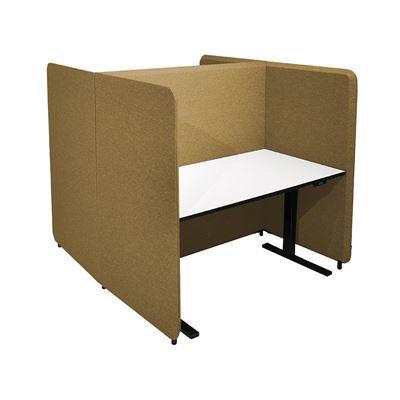 Työpistesermi Domo, H-malli, K 1450 mm, 1600x800 pöydälle, jalat sis., tumma keltainen