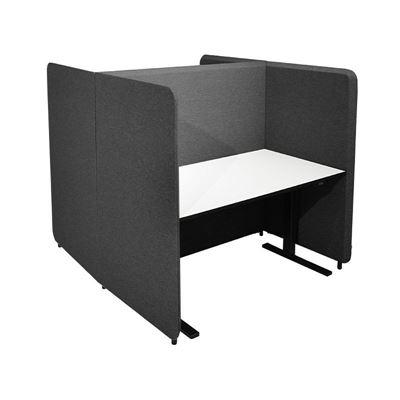 Työpistesermi Domo, H-malli, K 1650 mm, 1400x800 pöydälle, jalat sis., tummanharmaa