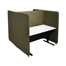 Työpistesermi Domo, H-malli, K 1650 mm, 1400x800 pöydälle, jalat sis., vihreä