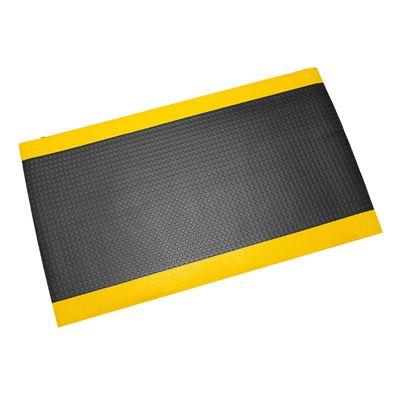 Työpistematto Senso Coin, L 600 mm, musta, keltainen reuna, juoksumetreittäin