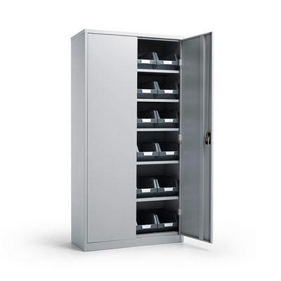Säilytyskaappi Toke, Durum ottolaatikoilla, LxSxK 914x406x1830 mm, vaaleanharmaa/harmaa