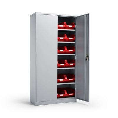 Säilytyskaappi Toke, Durum ottolaatikoilla, LxSxK 914x406x1830 mm, vaaleanharmaa/punainen