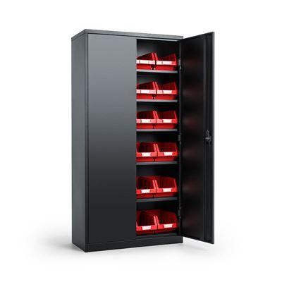 Säilytyskaappi Toke, Durum ottolaatikoilla, LxSxK 914x406x1830 mm, musta/punainen